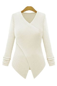 Goodnight Macaroon  CREAM WHITE CRISS CROSS WRAP FITTED CASHMERE KNITTED SWEATER  $128.00 USD