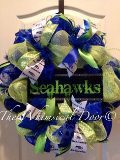 Seattle Seahawks NFL Decomesh Green Blue Wreath Football Father's Day Draftday on Etsy, $55.00