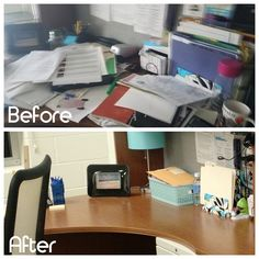 You should always start and end your day with a clean work space! #clearclutter #getfocused #getorganized #professionalorganizer
