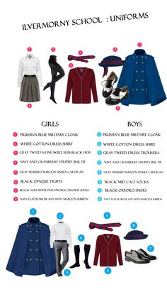 These are the uniforms for Ilvermorny. The colors for the uniforms are cranberry and blue; blue was Isolt's favorite color, and since cranberry pie is James's favorite food, Isolt made the secondary color cranberry. Harry Potter Outfits, Harry Potter Fandom, Harry Potter World, Sirius Black, Harry Potter Kleidung, Fantastic Beasts And Where, Harry Potter Universal, Character Outfits, Ravenclaw