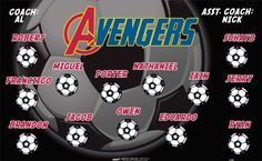 Avengers-41840 digitally printed vinyl soccer sports team banner. Made in the USA and shipped fast by BannersUSA. www.bannersusa.com