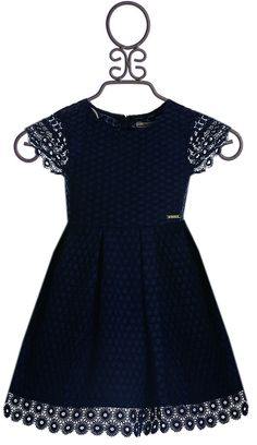 Mayoral Short Sleeve Lace Dress in Navy