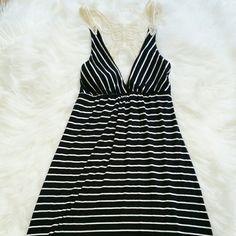 "bebe Maxi Black & White Striped Dress 2b bebe Long Maxi Dress Beautiful Lace design on top. 54"" long 93.5% Rayon 6.5% Spandex bebe Dresses"