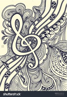 Zen-Doodle Treble Clef Notes Musical Stanza With Zen-Tangle Ornament Style Black On White For Coloring Page Or Relax Coloring Book Or Wallpaper Or For Decorate Package Clothes Or For Post Card Stock Vector Illustration 406468126 : Shutterstock Music Doodle, Zen Doodle, Doodle Art, Zentangle Drawings, Zentangle Patterns, Doodle Drawings, Doodle Patterns, Doodle Borders, Music Notes Art