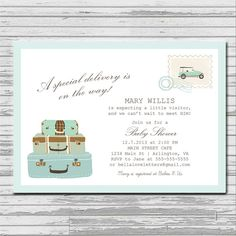 Travel Special Delivery Baby Shower Invitation - 5x7 custom card - suitcases, vintage, postcard, stamp, pink, aqua, beige, baby, pastels on Etsy, $9.00