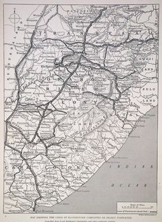 A map illustrating the extensive network of blockhouses employed by the British to protect their supply lines in South Africa during the insurgency in the latter half of the Second Boer War. African Map, African History, West Africa, South Africa, War Novels, World Conflicts, Armed Conflict, The Settlers, War Image