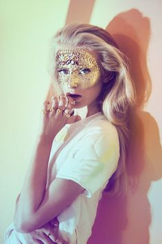 3d6e9d53cf95 Pretty golden jeweled masquerade make-up mask    from the Stine Goya S S  2013 collection.