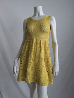 3bf38bad643afe 60 s 70 s Boho Hippie Chic Bright Yellow Crochet Mini Dress. Gehaakte  RokkenVintage Gehaakte JurkjesGebreide ...