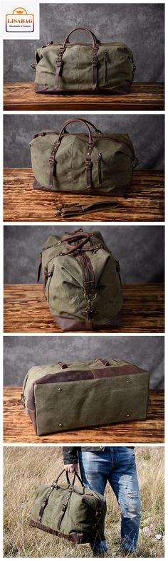 Handmade Waxed Canvas Leather Travel Bag Duffle Bag Holdall Luggage Weekender Bag 12031