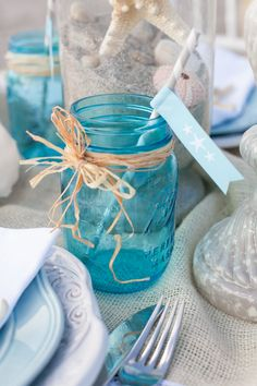 For a bridal shower by the sea--how pretty! We provide free mason jars at A La Plage Beach weddings and beach bridal showers in San Diego 760 722-1866