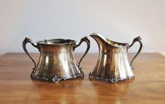 Antique Silverplate Sugar Creamer Set, Pairpoint Mfg. 372 Quadruple Silver Plate Cream and Sugar Set, Victorian Aesthetic Movement