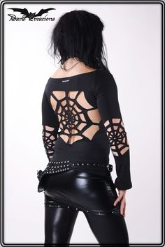 Gothic Clothing – +Lunatic - Spider+ romantic gothic longsleeve sexy – a unique product by Dark-Creations on DaWanda