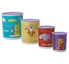 "Winnie the Pooh 4-Pc. Canister Set New design! Old friends!  Let Winnie the Pooh and friends keep a child's playroom or bedroom organized. Store art and craft supplies or kids' treasures in these cool canisters. Each canister features a different Winnie the Pooh character with the phrases ""Easy Breezy,"" ""Hello, Mr. Cloud,"" ""More 4 Me"" and ""Splendiferous.""  Note: Artwork not covered by Limited Lifetime Warranty.  Visit my website!  http://my.tupperware.com/marthatw2013"