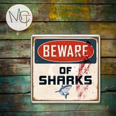Beware of Sharks Drink Coasters, Rusty and Bloody Sign, Hot and Cold Drinks, Beach Bar Coasters, Manly Decor, Man Cave, Made To Order by ManCaveTreasures4u on Etsy