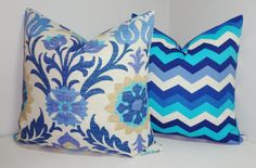 OUTDOOR Pillow Set Bright Colorful Waverly Floral & Chevron Periwinkle Blue Pillow Covers 18x18