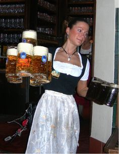 Hofbrauhaus, food German beer, oom-pah-pah music, maids carrying hands full of beer.....doesn't get much better than this. ;) especially for all those guys!