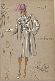 1930s - André - Costume suit. From New York Public Library Digital Collections.