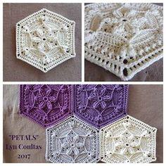 """""""Petals"""" - free crochet hexagon pattern by Lyn Coultas Hexagon Crochet Pattern, Crochet Motifs, Crochet Blocks, Afghan Crochet Patterns, Free Pattern, Tatting Patterns, Crochet Hexagon Blanket, Crochet Stitches, Bag Crochet"""