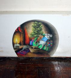 Twas the night before Christmas - family of mice sleeping, mouse hole decal.