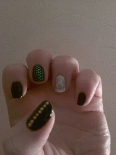 Nail design. Green gold white and black. Simple design
