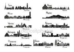 Signts silhouette delle 11 città d'Italia — Vettoriali  Stock © KatSov #19588577