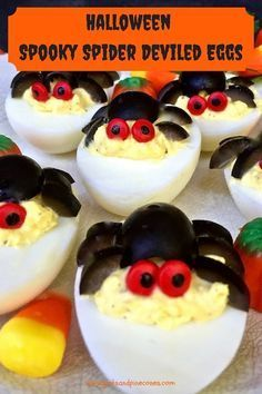 These Halloween Spooky Spider Deviled Eggs look complicated, but they are easy to make and are a healthy, food treat or party appetizer for both adults and kids! via Grits and Pinecones halloween recipes food Halloween Appetizers, Halloween Food For Party, Appetizers For Party, Appetizer Recipes, Halloween Spider, Parchment Paper Baking, Gluten Free Puff Pastry, Deviled Eggs Recipe, Food Treat