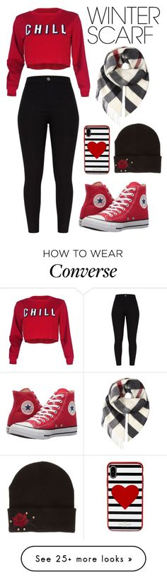 """682: Winter Scarf"" by alinepelle on Polyvore featuring Converse, Burberry, Kate Spade and winterscarf"