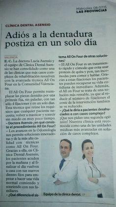 Entrevista a la Dra. Lucía Asensio en el diario Las Provincias, el pasado miércoles 8 julio, sobre el tratamiento All On Four.  #clinicadentalasensio #implantesdentales #odontologiaavanzada