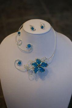 Wedding set of jewelry   Teal open collar par LesBijouxLibellule, $36.00