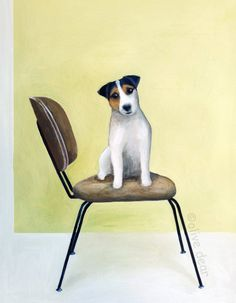 Mid century chair with Jack Russell terrier, olive dear