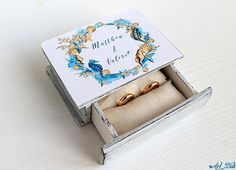 Your place to buy and sell all things handmade Wedding Ring Box, Wedding Boxes, Personalised Box, Personalized Wedding, Ring Bearer Box, Diy Stuff, Stuff To Buy, Nautical Wedding, Blue Rings