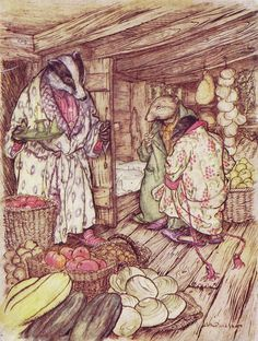 ✯ Wind in the Willows Badger's Winter Store :: Arthur Rackham -1956- ✯