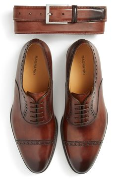Magnanni belt & cap toe oxford shoes