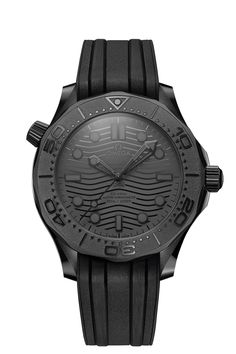 Omega Sseamaster Diver 300M Black Black ref.: 210.92.44.20.01.003 Frontal Omega Diver, Omega Seamaster Diver 300m, Nato Strap, Wave Pattern, Everyday Carry, Automatic Watch, Black Rubber, Michael Kors Watch, Omega Watch