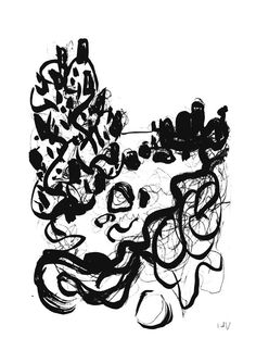 Black and White Print Ink Drawing Abstract Coastal by InekedeVries