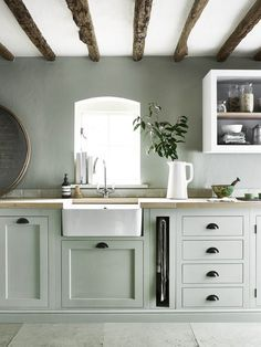 Modern Kitchen Interior We're Calling It: The Top Kitchen Paint Colors for 2018 - If you love both color and kitchen design, you're sure to find something to excite you here. Sage Green Kitchen, Green Kitchen Cabinets, Kitchen Cabinet Colors, Painting Kitchen Cabinets, Kitchen Paint, Kitchen Colors, Kitchen Black, Kitchen Counters, Kitchen Layout