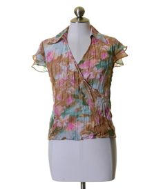 Violet & Claire Beige Green Pink Floral Crinkled Blouse Size M #VioletClaire #Blouse #Casual