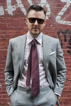 Grey tweed suit; red checkered shirt; plaid tie. Awesome. | Suits