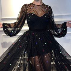 Details - Black dress - Designed tulle fabric with dots - Sparkly handmade embroidery with different colors - Sirene dress style - Party and Evening dress 70s Fashion, Fashion 2020, Fashion Outfits, Fashion Vintage, Girl Fashion, Prom Dresses Long With Sleeves, Cute Dresses, Petsch, Dress Outfits