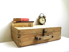 Vintage Wood Suitcase White Antique Wooden Luggage Travel Case Train Case Small Trunk Chest Rustic Tool Box Lid Primitive Storage Epsteam by WoodHistory on Etsy