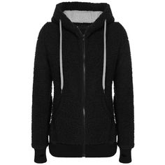 Womens Plain Long Sleeve Active Drawstring Cashmere Hoodie Black ($23) ❤ liked on Polyvore featuring black