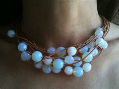 Moonstone and leather layered necklace                                                                                                                                                     More