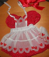 Doll Terri Lee Clothing HEART FUND Red Dotted Swiss Dress with Apron tag 1950s