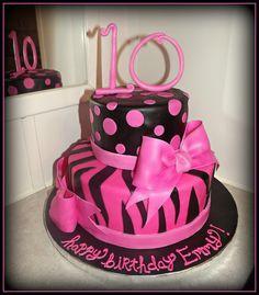Reis' 8th bday cake, but in paisley pan...Hot Pink Zebra Cake