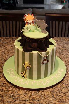 Safari baby shower cake! www.shookupcakes.com