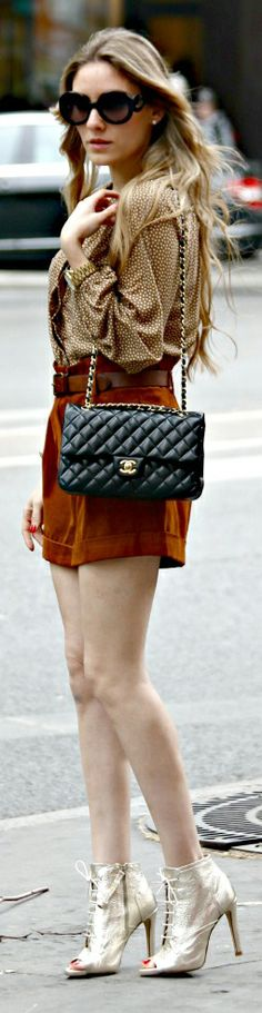 Street Style Mix: Shorts, Chanel Bag and Giuseppe Zanotti Lace-Up Booties