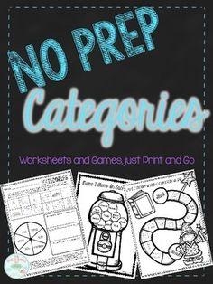 Print and Go: No Prep Categories