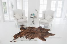 Jersey Road - Brindle with White Belly Cowhide Rug, $329.00 www.JERSEYROAD.com 100% top quality Brazilian cowhide rug. FREE SHIPPING USA and Canada wide.  Tags: #cowhide #cowrug #rug #leather #beautifulroom #dreamroom #livingroom #jerseyroadco #whiteonwhite  #brindle #brownrug #bedroom #whiteroom #scandinavian #frenchcountry #interior #chic