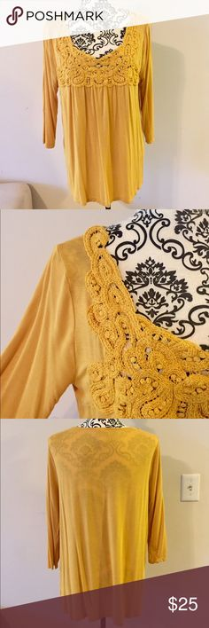 Cato 3/4 sleeve sunflower yellow blouse Cato 3/4 sleeve blouse with feminine lace/crochet detail at neckline and shoulders. Gorgeous sunflower yellow color is perfect for fall! 95% rayon / 5% spandex (detail at neckline is cotton blend). Worn 2-3x - EUC! Cato Tops Blouses