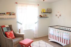 Coral, aqua and gray nursery with hot air balloon theme for my little lady
